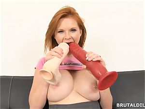 big-titted sandy-haired mummy Tarra milky drilling aggressive faux-cocks