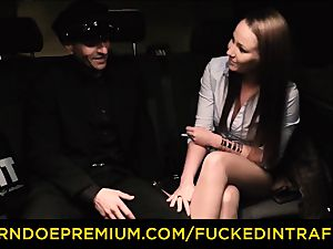 penetrated IN TRAFFIC curious dark haired fuckfest with driver