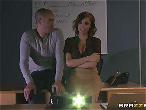 torrid redhead teacher Britney Amber showcases schoolgirl how its done