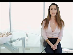 Ashley Adams gasps as her caboose is drilled