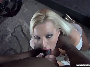 messy blonde babe deep-throats tit milks bangs ample ebony man sausage