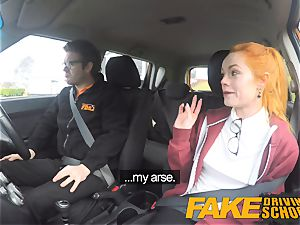fake Driving school adorable ginger-haired Ella Hughes pummels