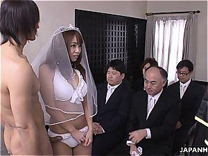 asian bride deepthroating penis during her wedding