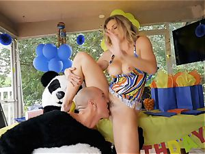 suspended guy in panda costume boinks milf Cory pursue