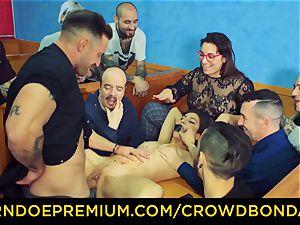 CROWD restrain bondage - dark haired slave doll fetish public fucky-fucky