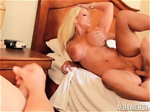 pecker deep throating naughty 3some Alura Jenson and man gives a helping forearm