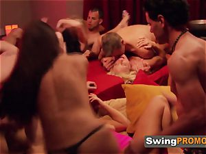 shaved spouse takes his wifey to party at the swingers house