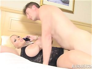 biz chick Alura Jenson makes her employee munch out his own jism out of her fuckbox