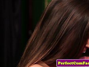 UK schoolgirl stroking before facial jizz shot