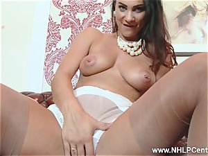 dark haired immense mounds fingers coochie in nylons high-heeled shoes undies