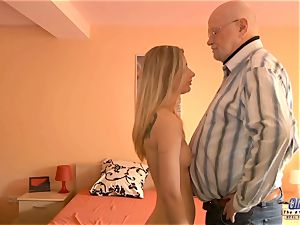 youthful assistant pokes aged dude boss penetrates sumptuous damsel