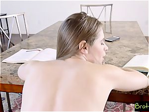 super-hot sista torments her step bro by kneading his huge shlong