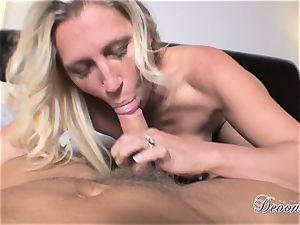 Devon Lee is liking her man's whip plunged in her jummy gullet