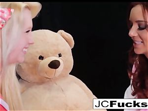large teddy hunk wish have fun with 2 thrilled lesbians