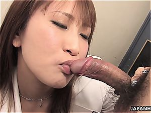 japanese biz babe has to get physical from time to time