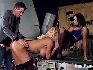 Monster manmeat slides into Jasmine Jae and Nicolette Shea