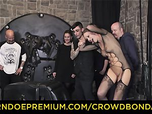 CROWD restrain bondage - extraordinary sadism & masochism fuck wheel with Tina Kay