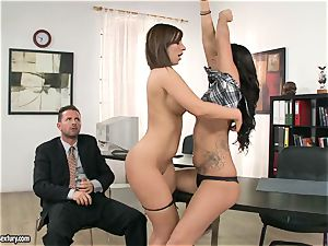 tramp Debbie milky has a warm red-hot threesome