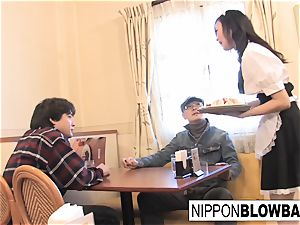 super-cute asian waitress gives dual bj