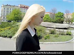 whores ABROAD - ash-blonde Misha Cross stiffy riding abroad