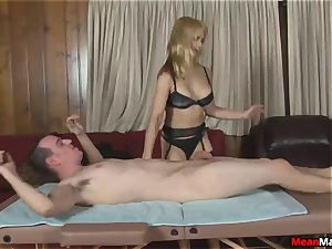 client Shocks To witness The sexy platinum-blonde massagist