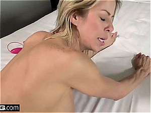 naughty cougar with fat titties gets strewn with jizz
