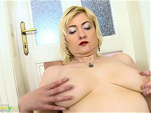 OldNanny mischievous blondie Mature Evi Solo gash playing