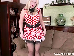 super-fucking-hot towheaded strips off vintage milky underwear toys snatch