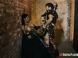 nasty warrior Jasmine Jae rectal beaten by a gladiator