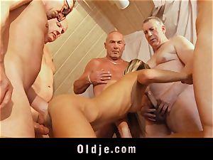 elder school group shag featuring bony youthful blonde