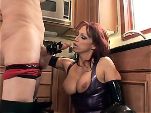 screwing in glossy latex lingerie and high stilettos