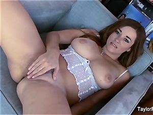 spectacular Taylor Vixen strokes in milky undergarments