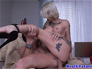Tattood real platinum-blonde milf boned in butt