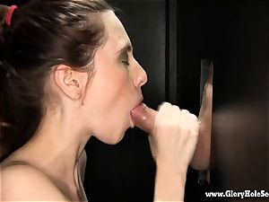 bitchy lady gets chatted into gargling at gloryhole