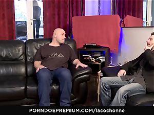 LA COCHONNE - hardcore double penetration threesome hookup for busty stunner