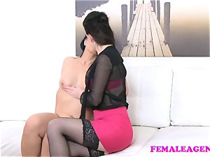 female Agent big-titted agents fucktoy gives wondrous model orgasm
